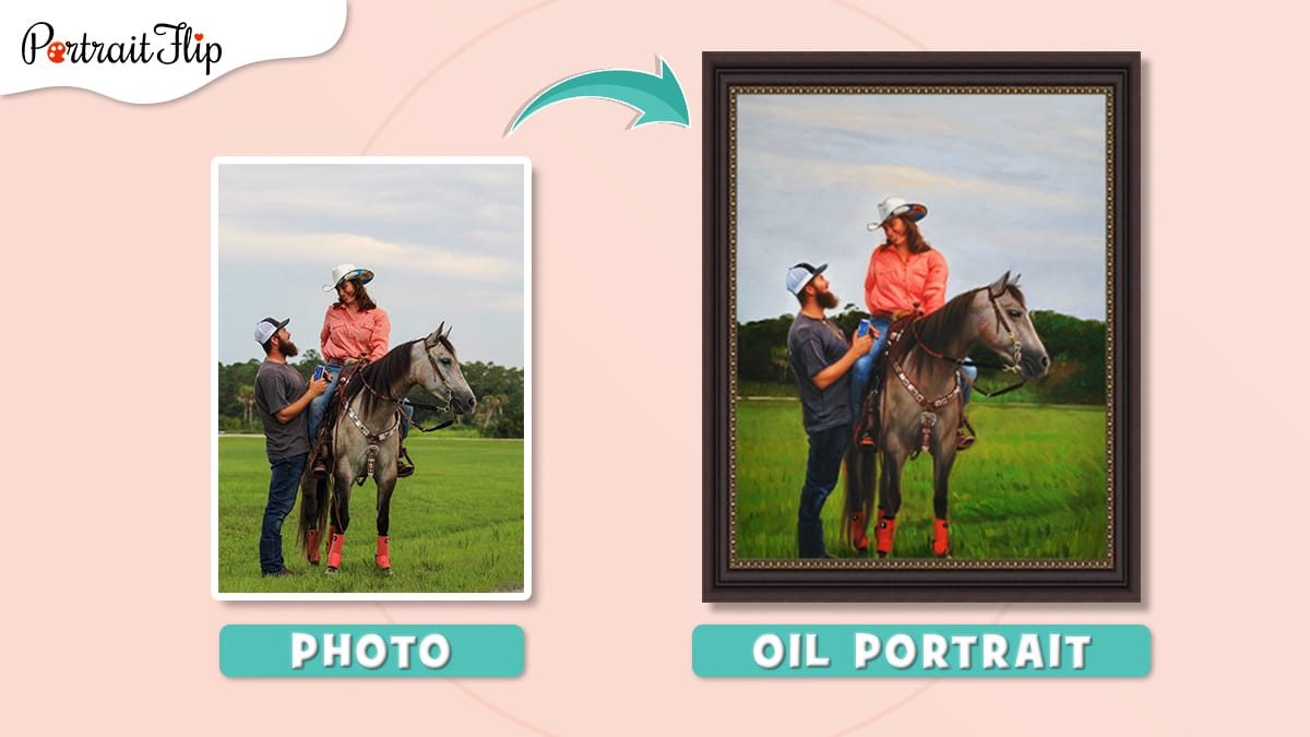 Horse portrait from photo of a couple sitting on a horse.