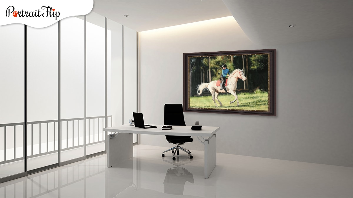 White Horse Portrait in an office with white background and a balcony.