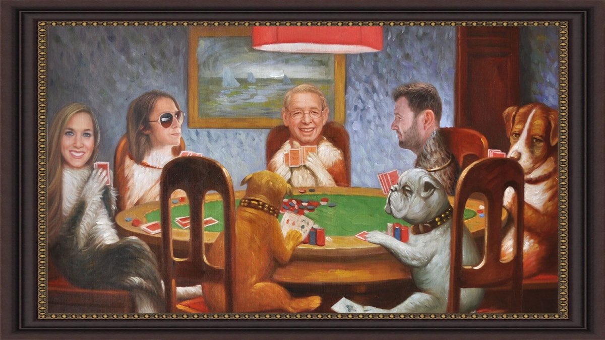oil painting of a family sitting on gamble table with the human bodies swapped with dog bodies.