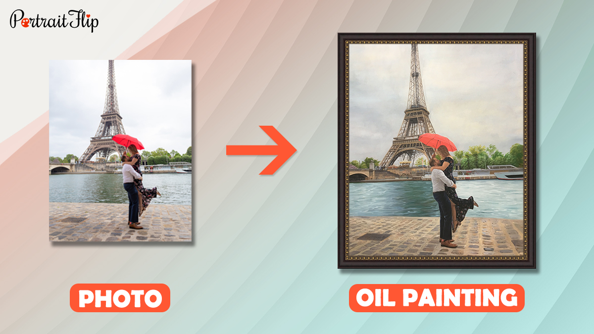 a photo of a couple posing with red umbrella beside Eiffel tower is turned into a oil painting by portraitflip artist.