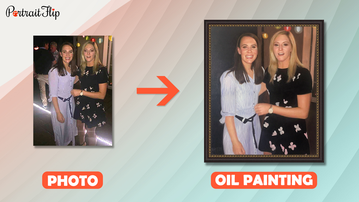 a photo of two best friends is converted into an oil painting by portraitflip