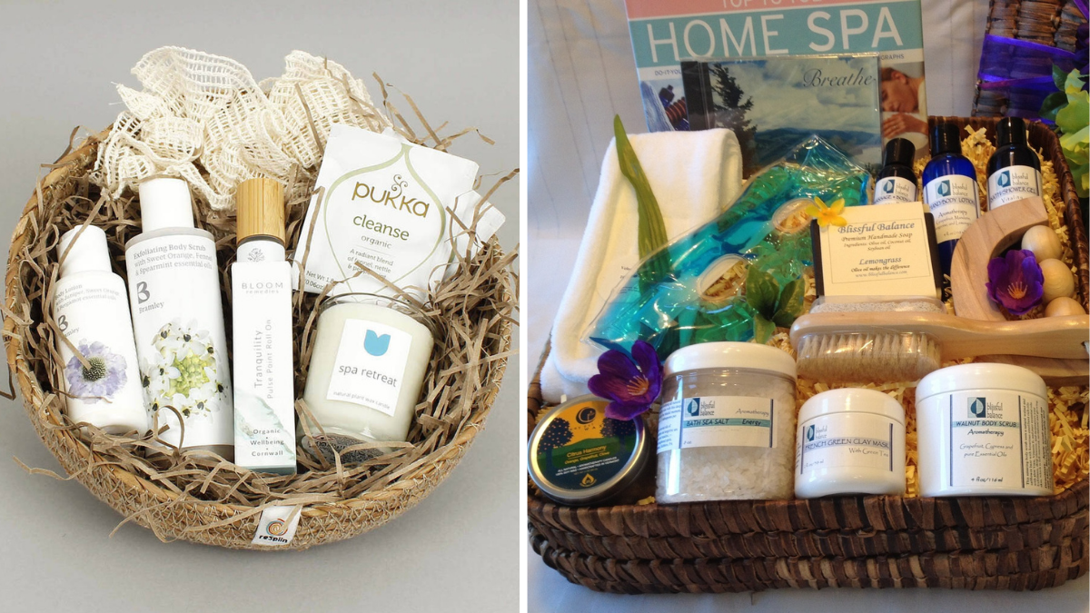 Aromatherapy spa gift baskets with spa products