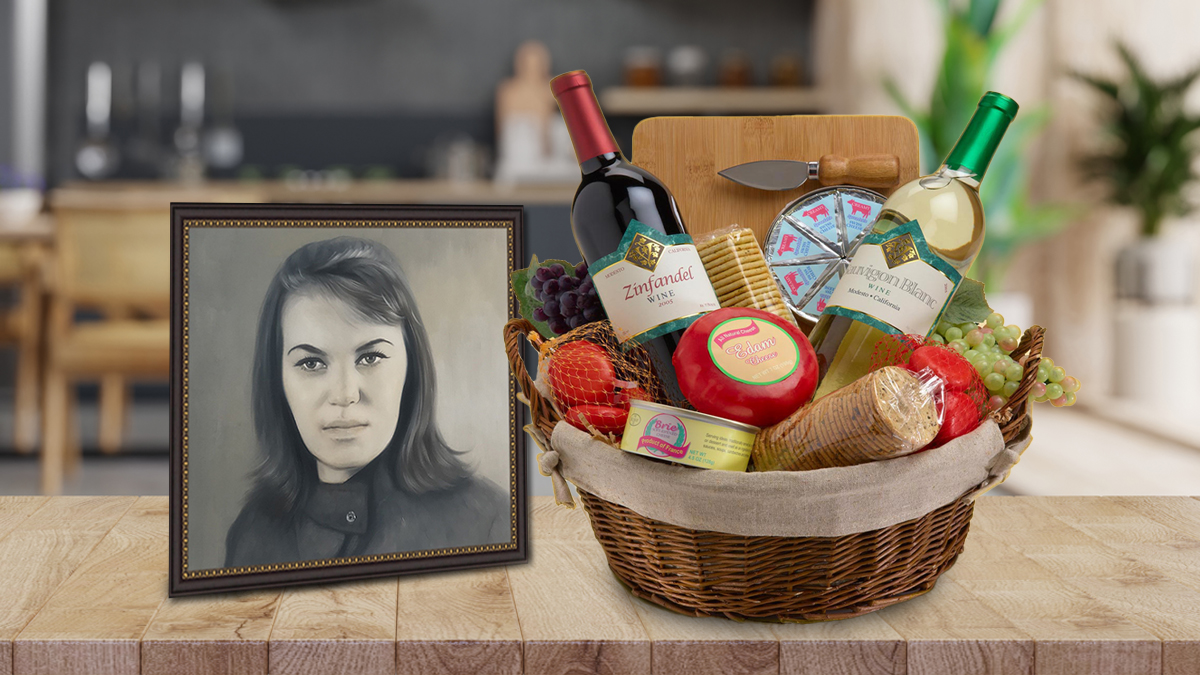 Red Wine Thanksgiving Gifts Basket with a custom handmade oil portrait by portraitflip at the side table