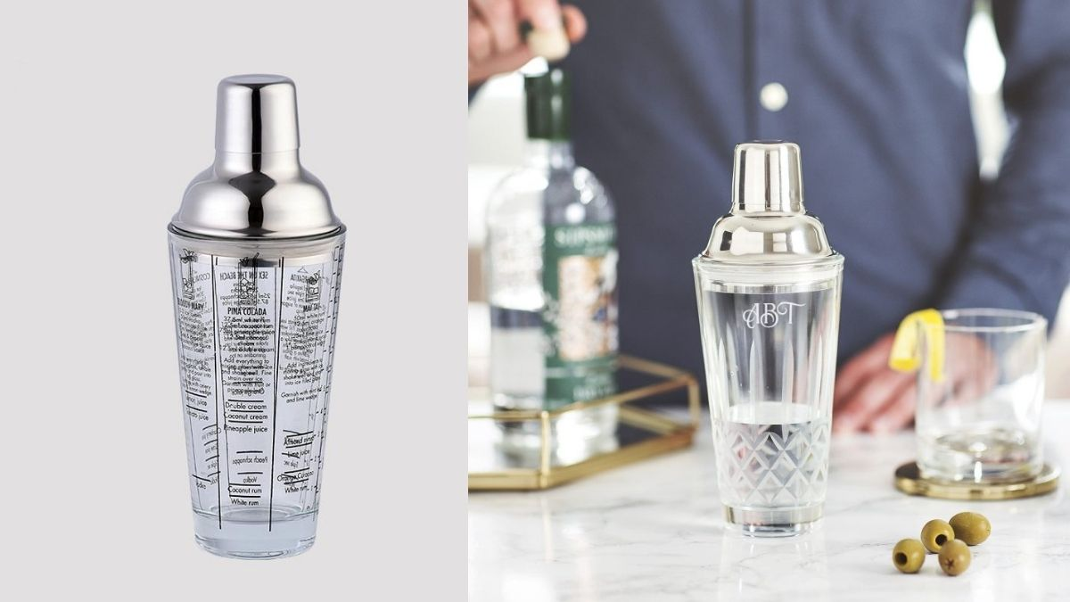 glass cocktail shaker on left. on right, a man making cocktail with a glass shaker.