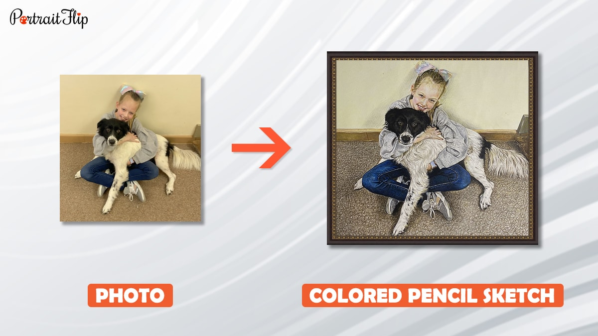a photo of girl with her dog is turned into a colored pencil sketch by artist at portraitflip