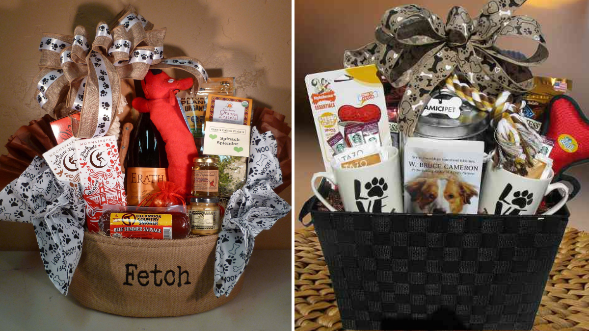 Dog Lover's Thanksgiving Gifts Basket with dog products