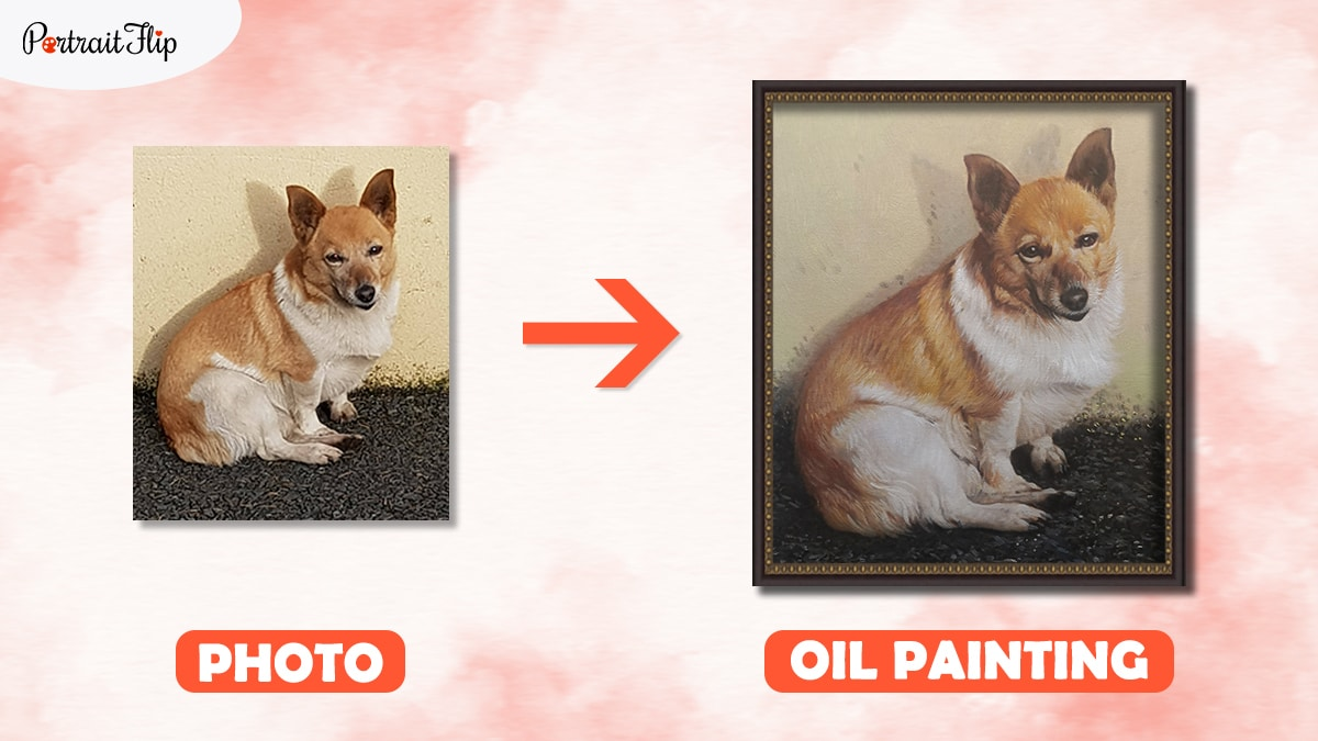 A brown and white photo of a dog converted in to a painting with PortraitFlip.