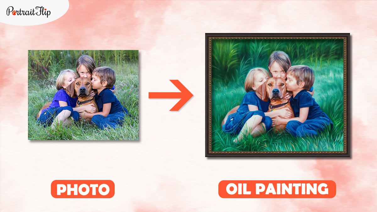 A photo of 3 children hugging their beagle dog hand painted with PortraitFlip.