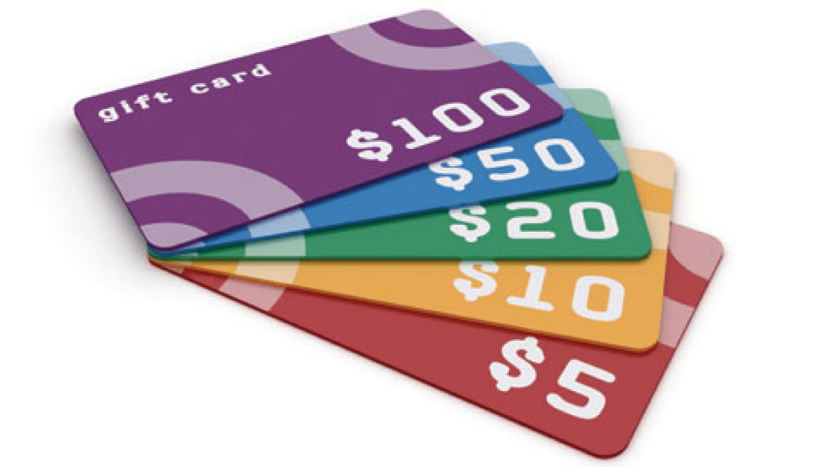 colorful gift cards stacked together against a white background.