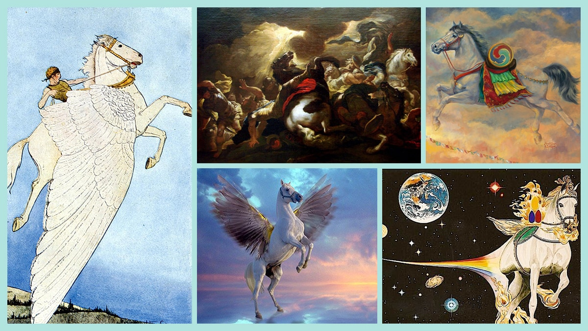 A collage of horses from mythology and culture.