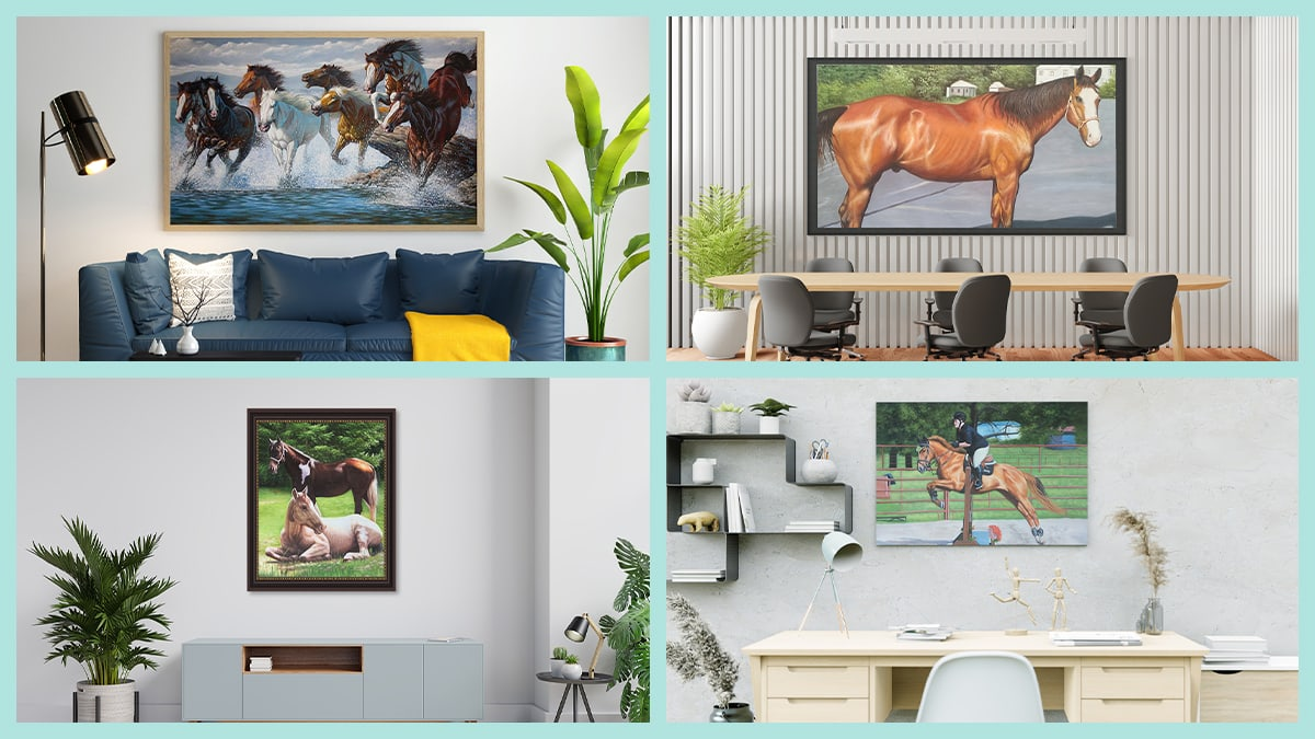 Collage of different horse portrait placements around the house.