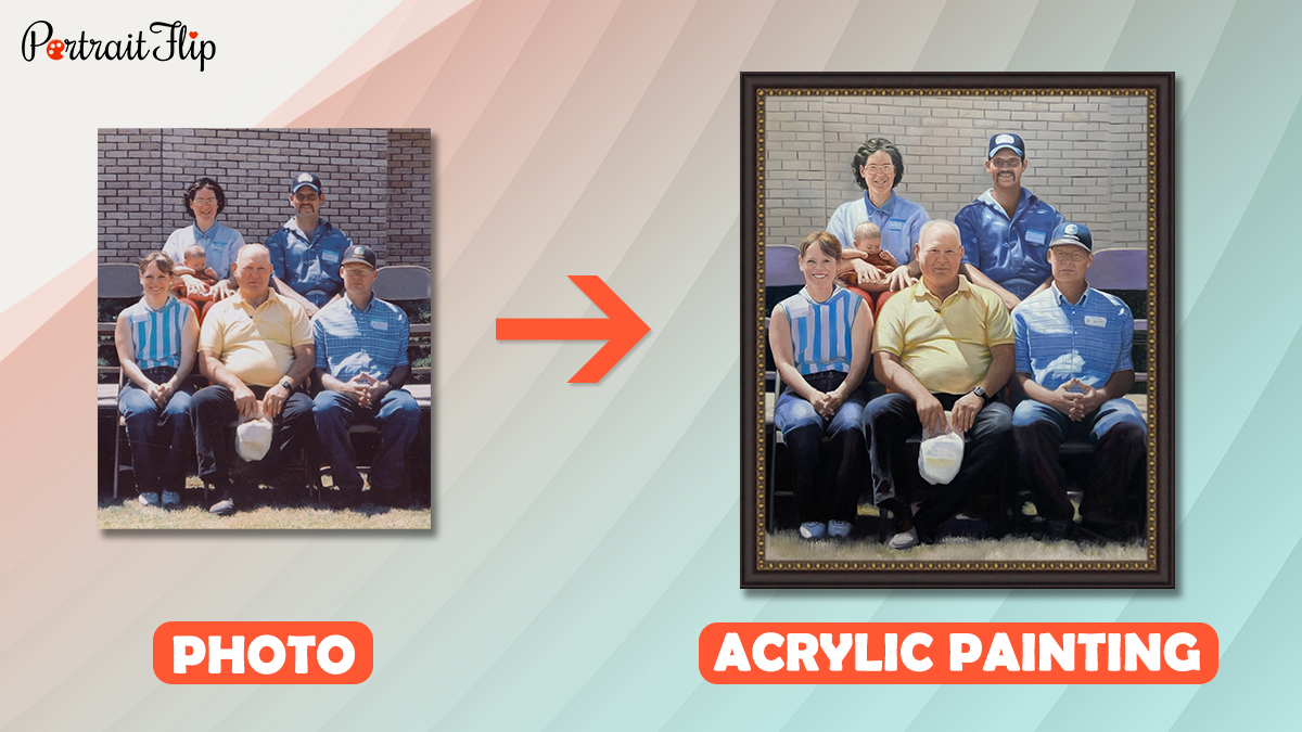 a group photo of employees is turned into a custom handmade acrylic painting by portraitflip artist