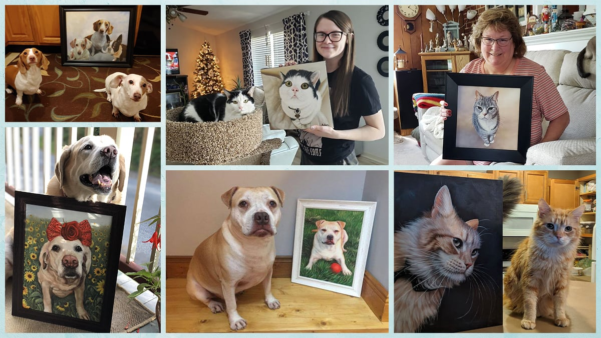 A compilation of happy customers holding their pet portraits.
