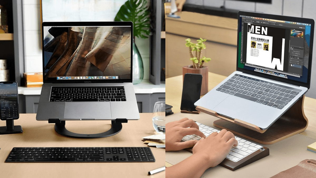 A person using a Laptop/Notebook Stand Holder