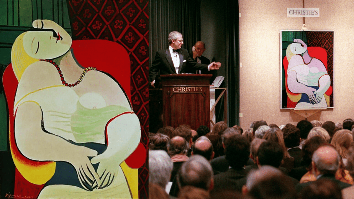 The painting 'Le Rêve' by Pablo Picasso being auctioned at Christie's.