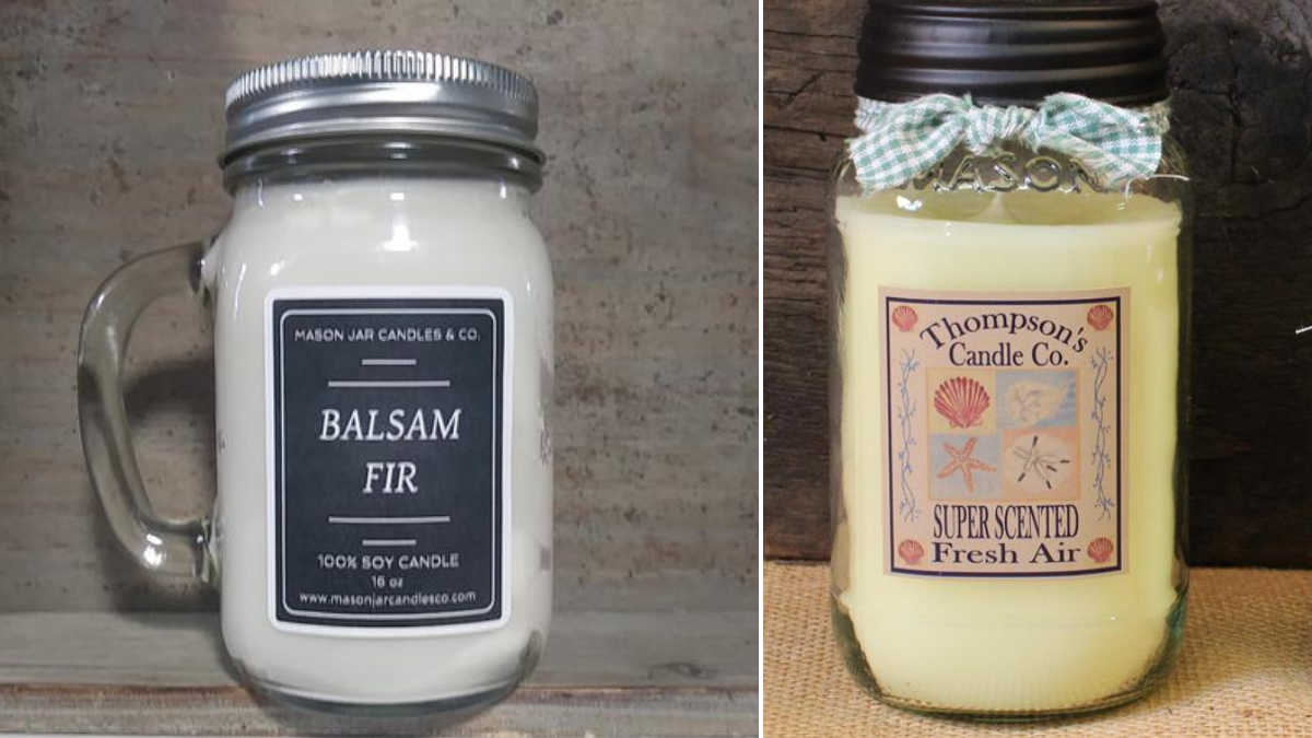 two mason jar scented candles are on a table