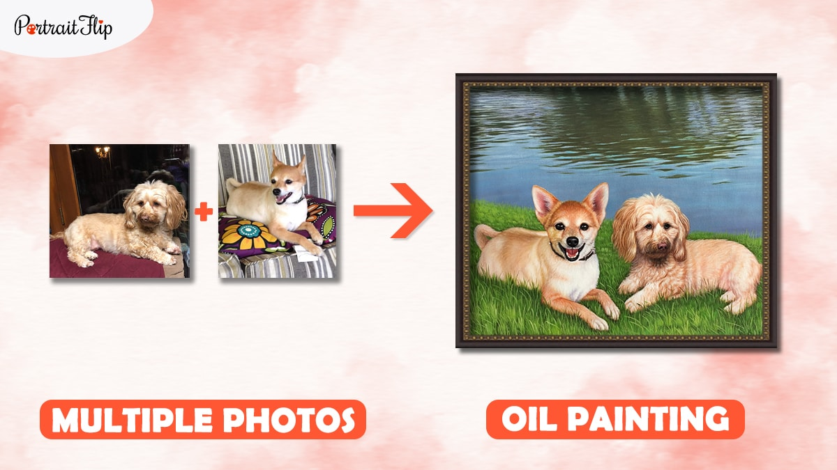 Two different photos of pet dogs merged into one painting by PortraitFlip.