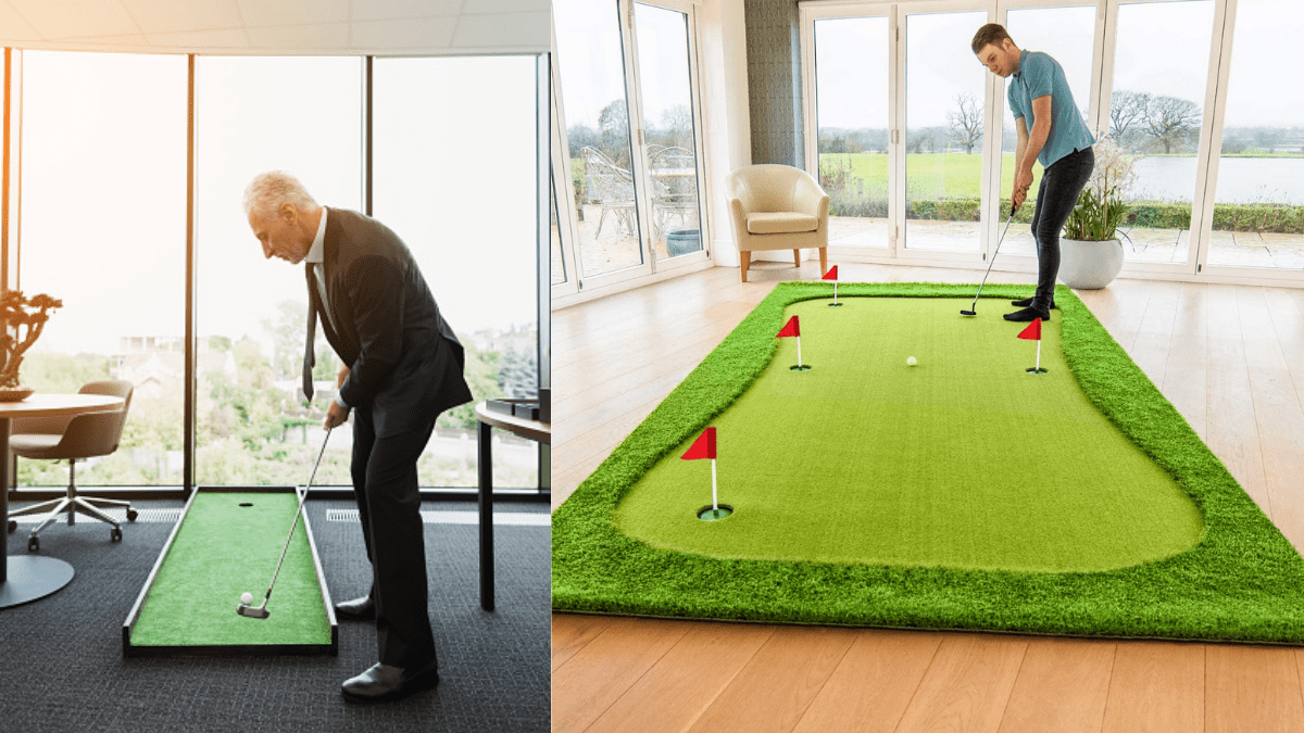 mini golf being played in office and house.