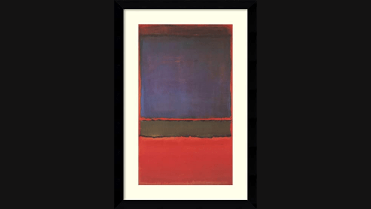 The painting 'No. 6 (Violet, Green, and Red)' by Mark Rothko