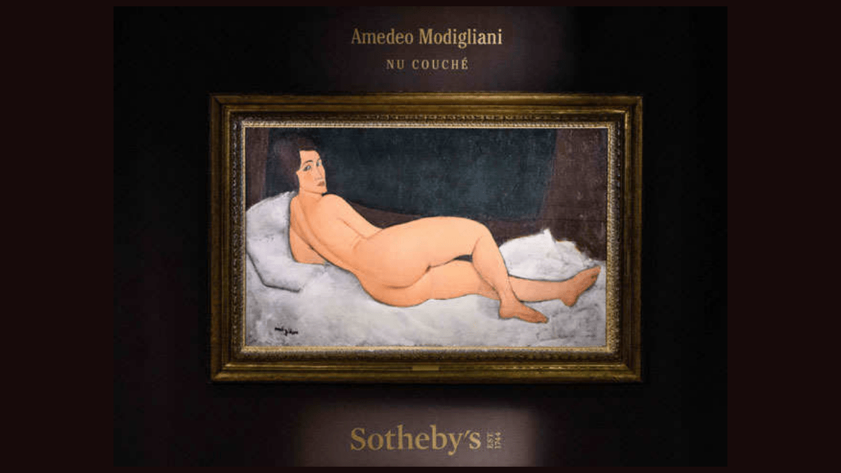 The Painting 'Nu couché (sur le côté gauche)' by Amedeo Modigliani hangs at the wall of Sotheby's. one of his most expensive painting.