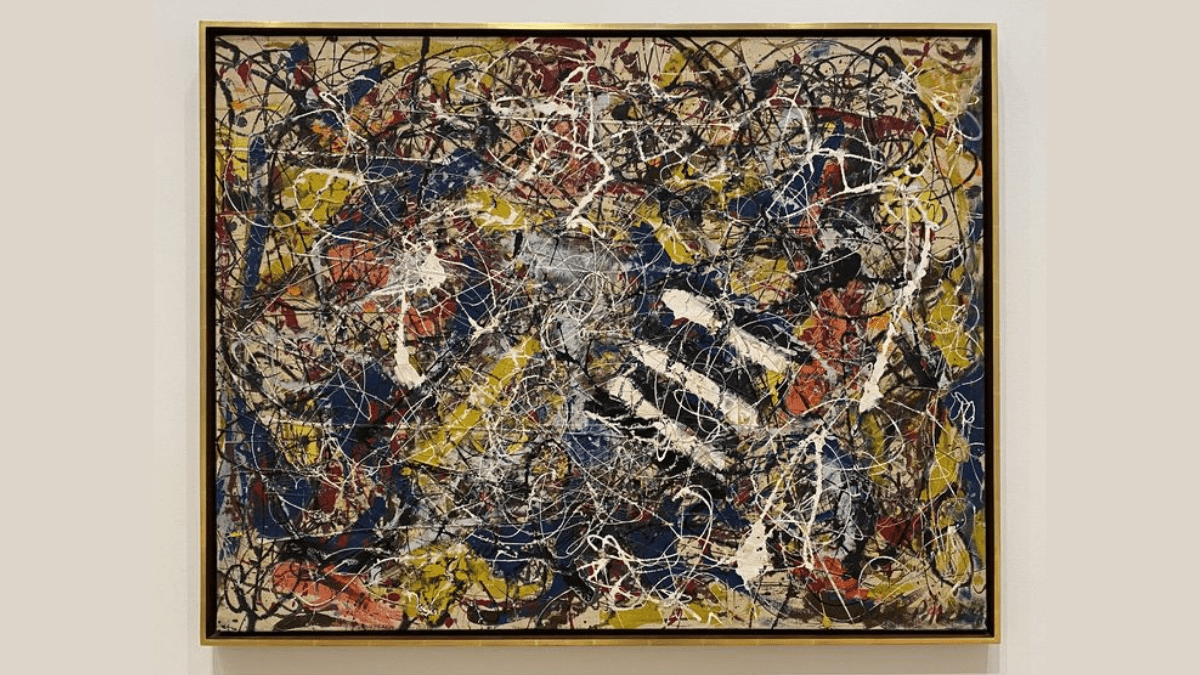The painting 'Number 17A' by Jackson Pollock, one of his most expensive paintings is displayed with a golden frame.