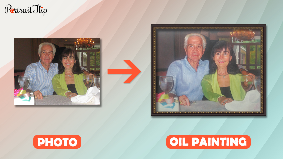 a photo of parents is turned into a handmade oil painting by the artist of portraitflip