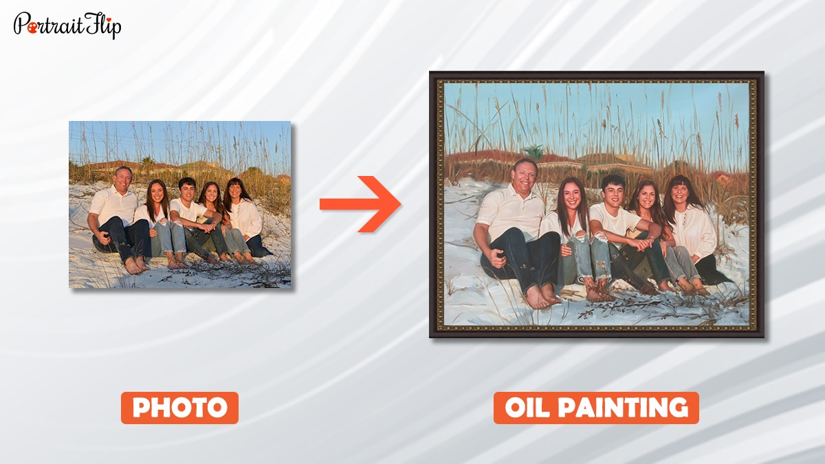 a family photo is converted into handmade oil painting by portraitflip