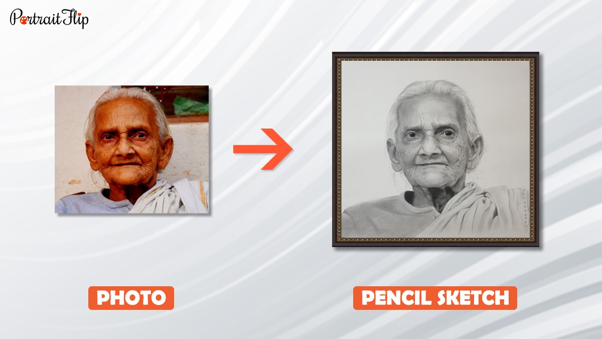 a photo of grandma is turned into a pencil sketch by artist at portaitflip