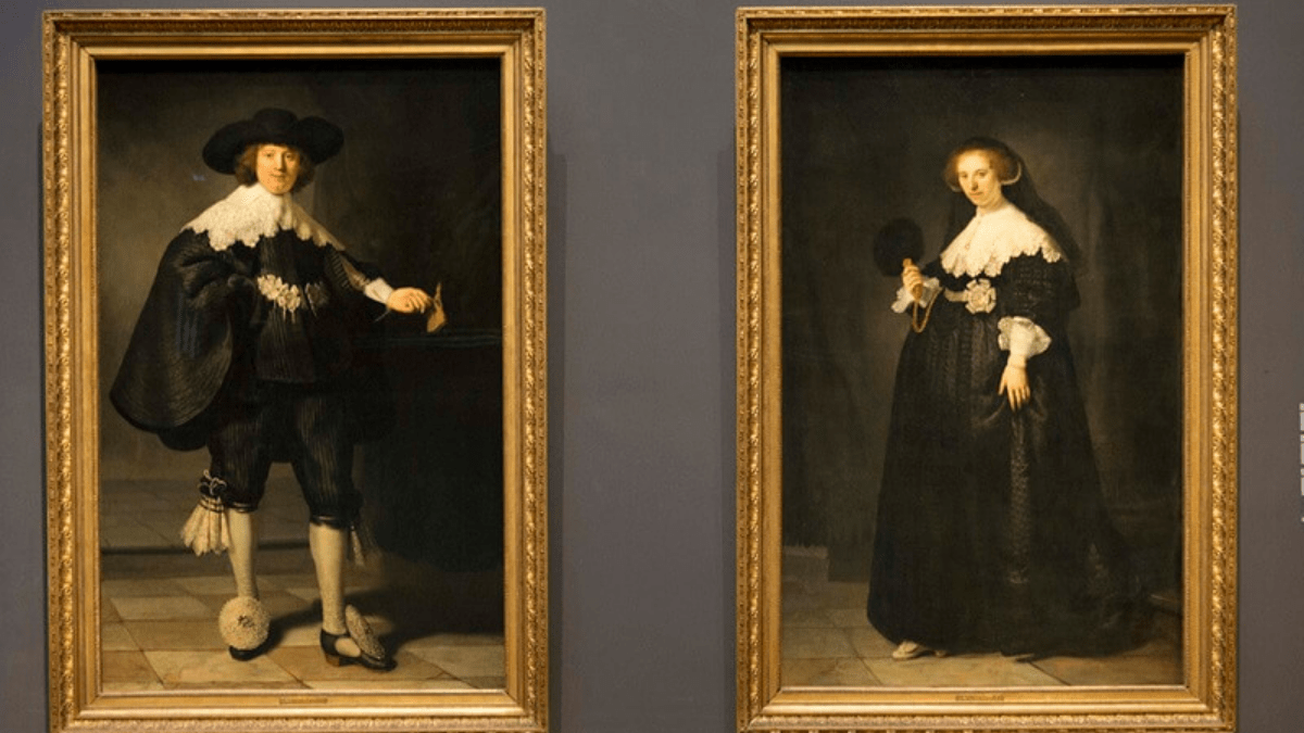 The painting 'Pendant portraits of Maerten Soolmans and Oopjen Coppit' by Rembrandt