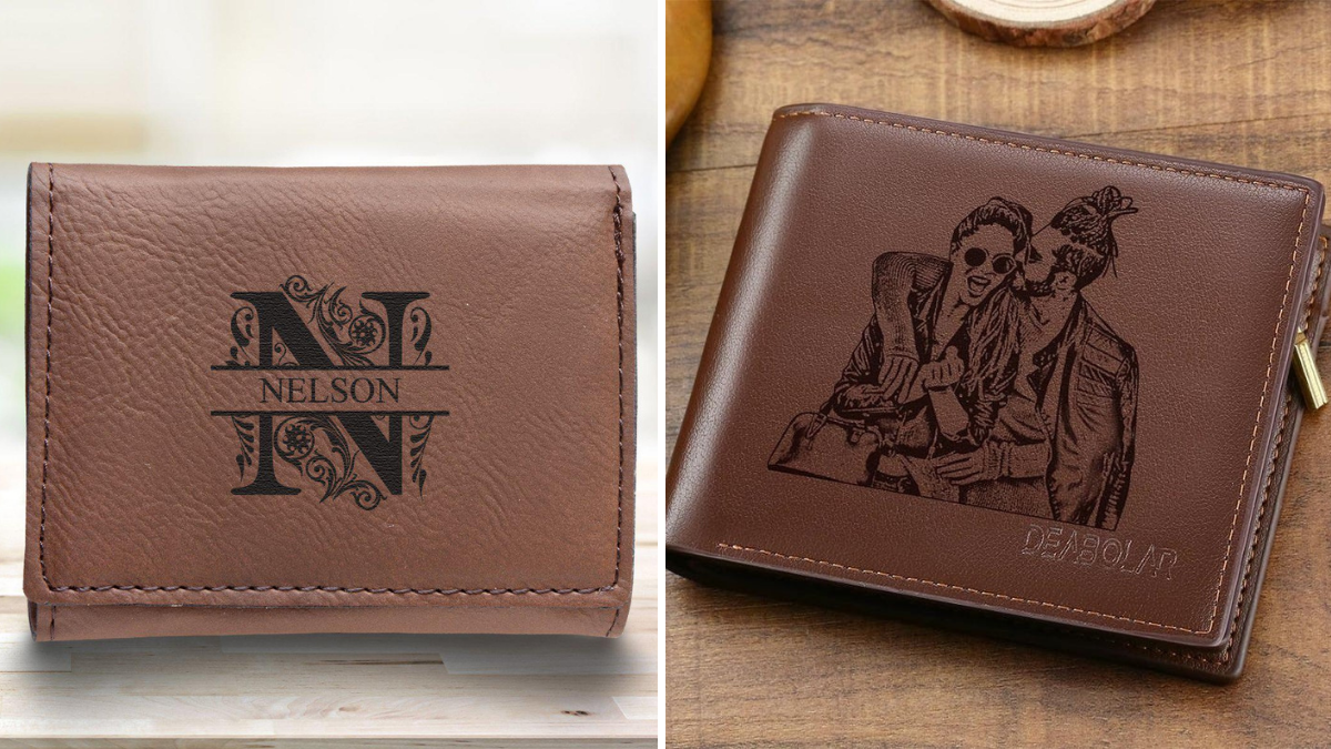 Personalized brown wallet with names inscribed in them
