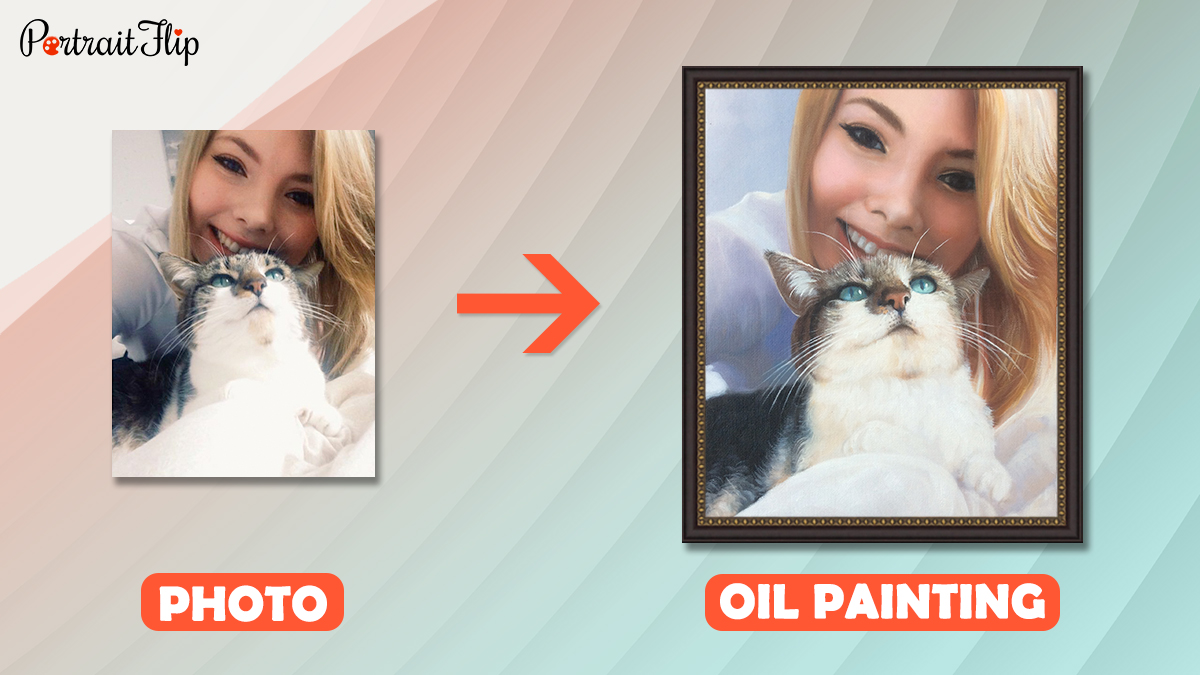 a photo of cat and woman is turned into a pat portrait (handmade painting) by portraitflip