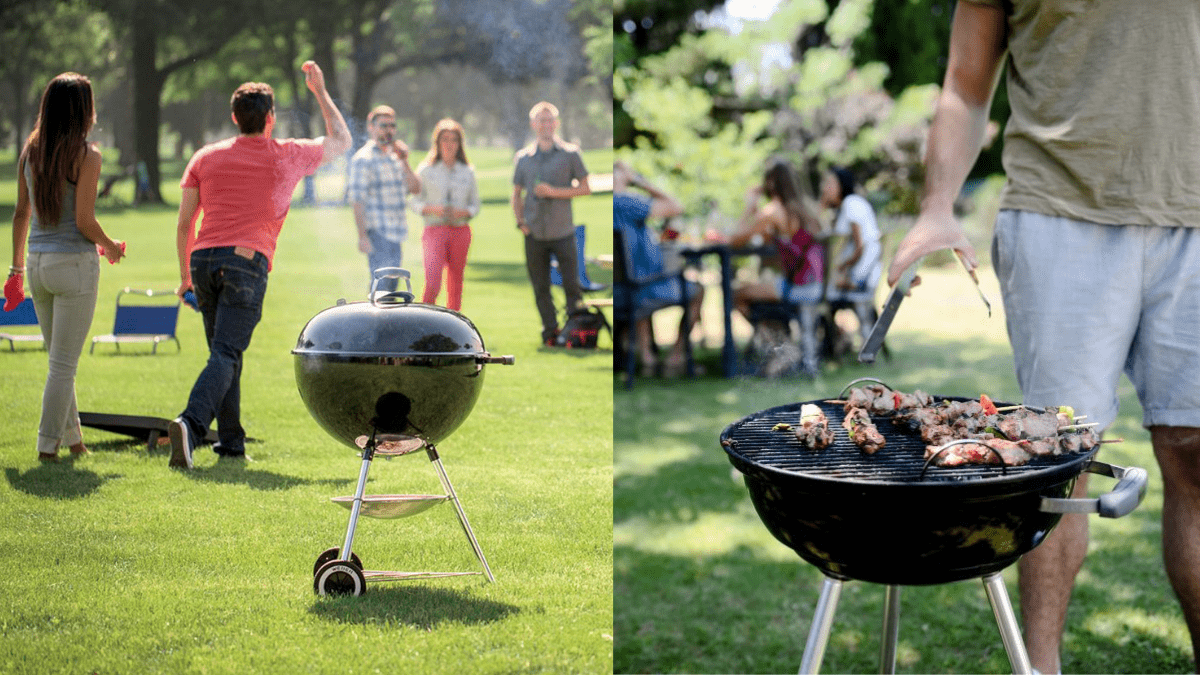 People having fun around A portable charcoal griller.