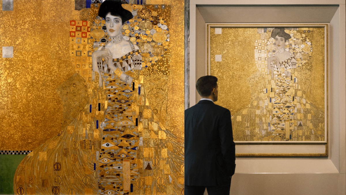 The painting 'Portrait of Adele Bloch-Bauer II' by Gustav Klimt being viewed by a man.