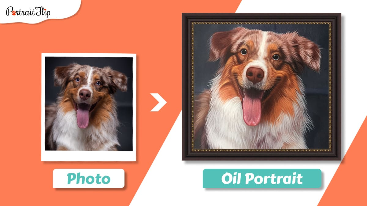 Photo to oil painting of a dog with his tongue sticking out.