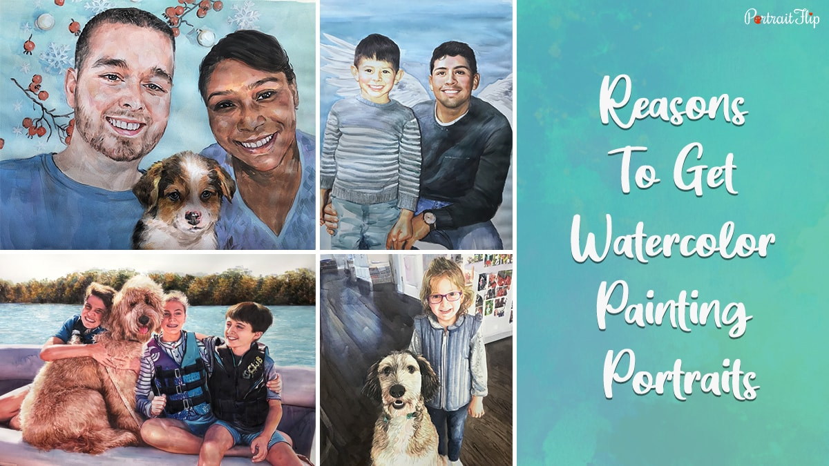 A compilation of watercolor artwork by portraitflip