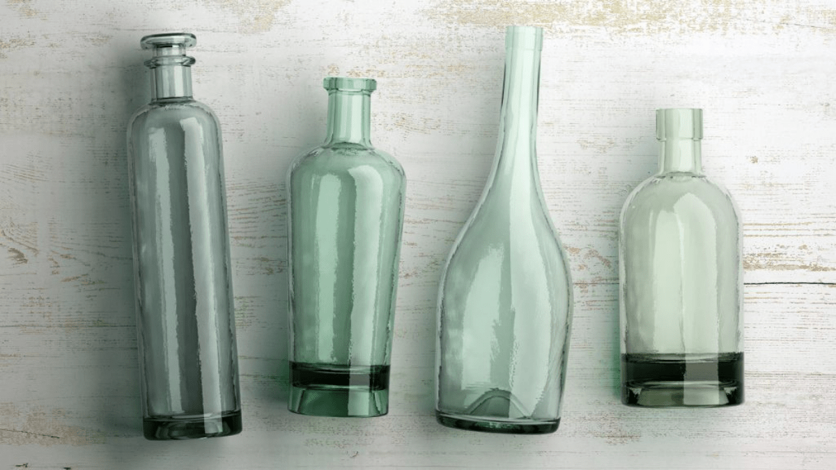 different glass bottles made from recycled glass