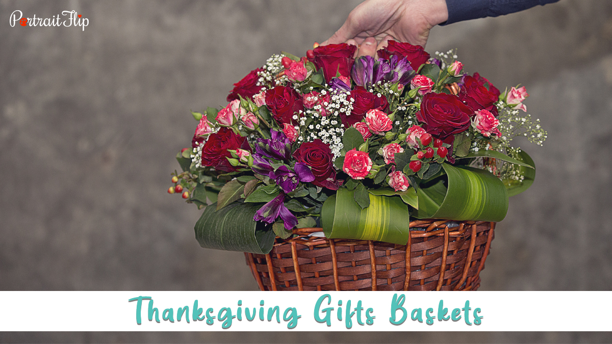 thanksgiving gifts baskets with red and pink rose flowers, and purple flowers