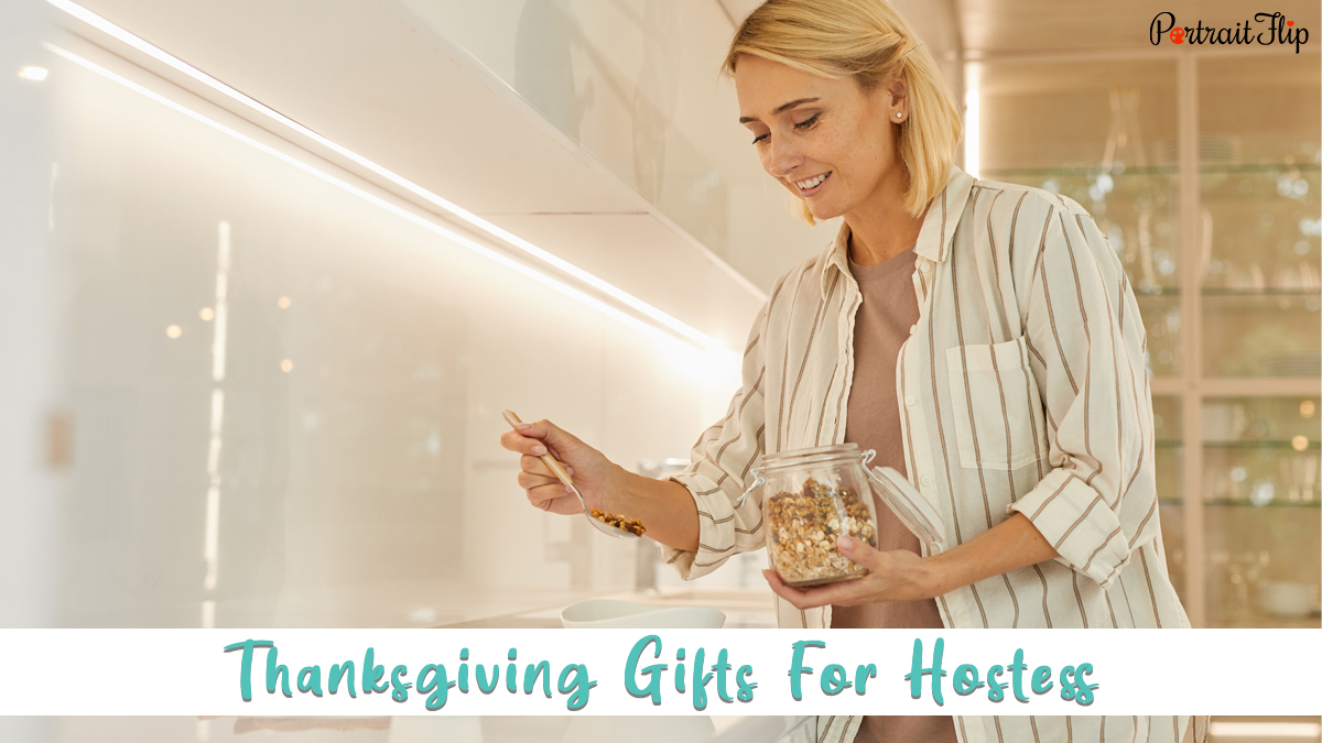 thanksgiving gifts for hostess: a hostess preparing meal in the kitchen