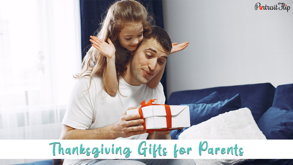 Thanksgiving gifts for parents: a daughter surprising her father with a thanksgiving gift