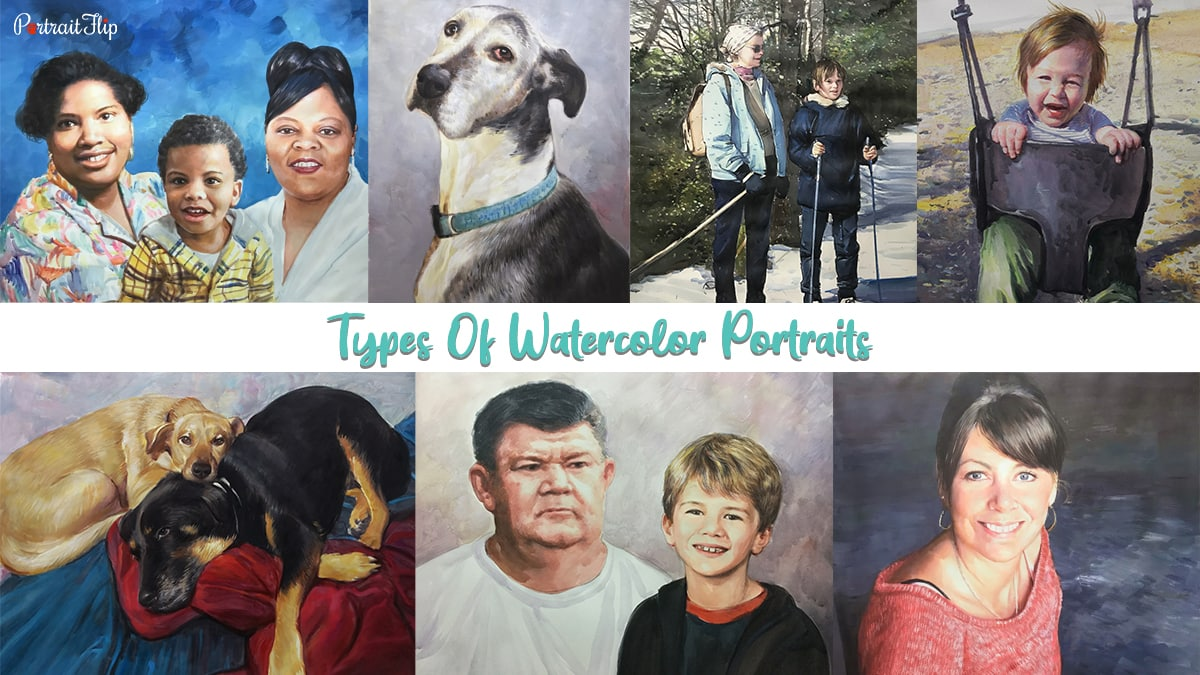 Compilation of watercolor portrait showing family, dogs, mother and son, child, baby and sister by portraitflip