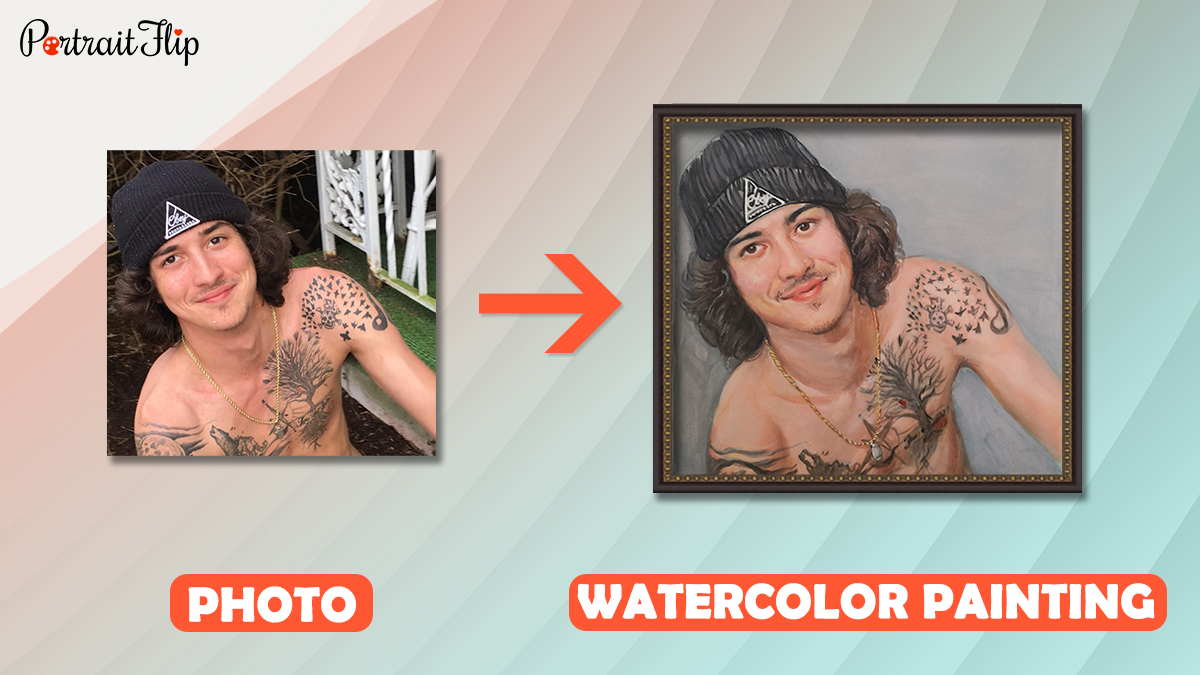 a photo is converted into a handmade watercolor painting by portraitflip