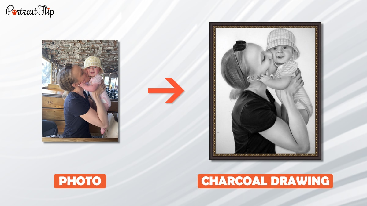 A photo of mom and her baby is turned into a charcoal drawing by portraitflip