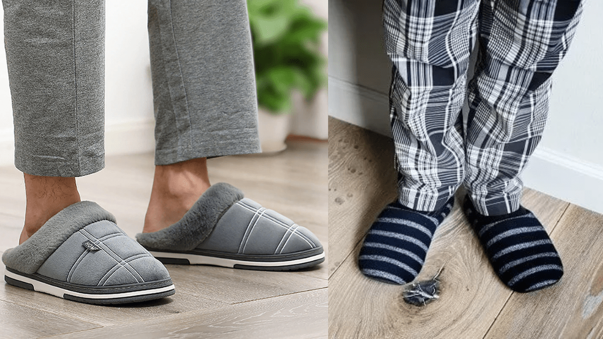 A man wearing cozy slippers.