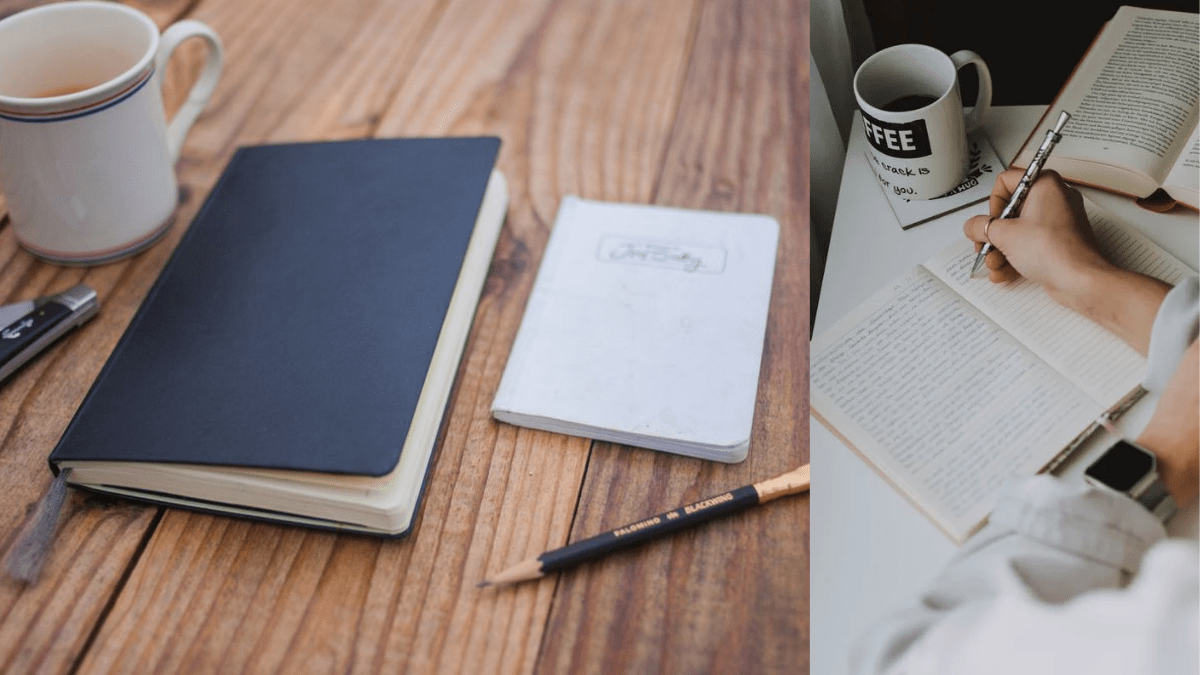 A man writing in a journal and an image of a black journal book.