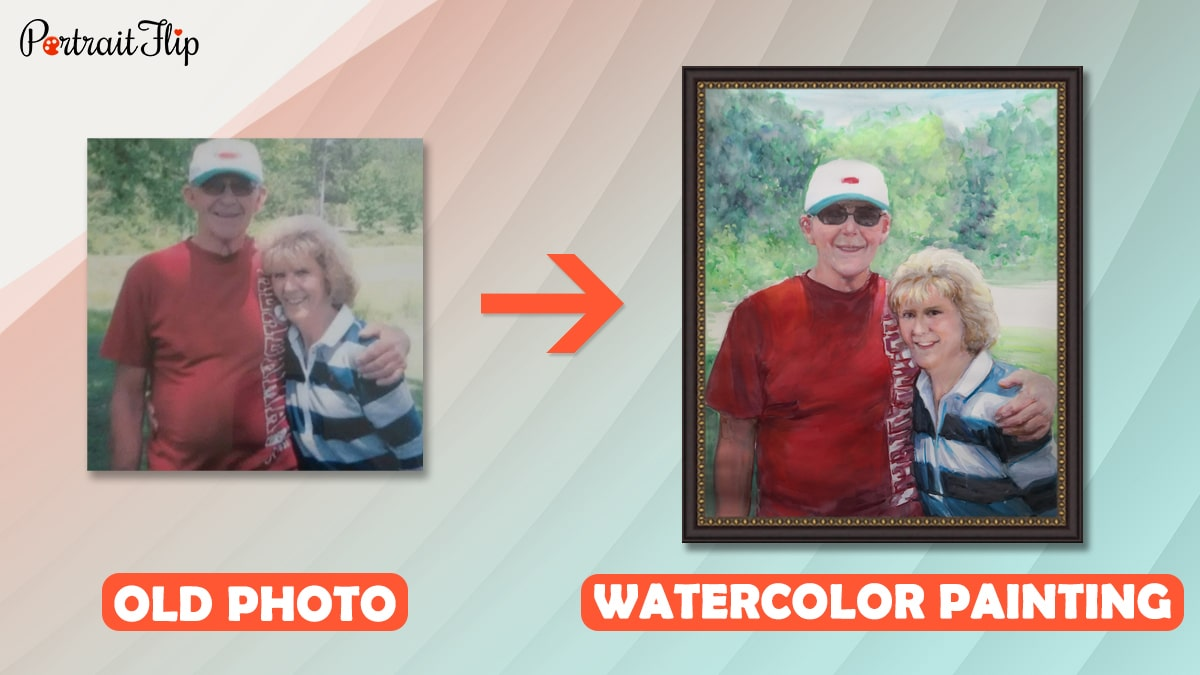 Old photo of a couple is restored into a beautiful handmade painting by portraitflip.