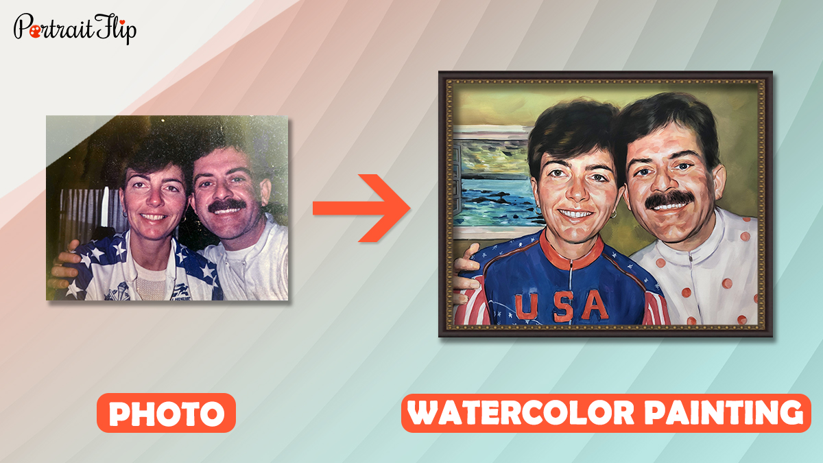 watercolor portrait made from photo by portraitflip artist