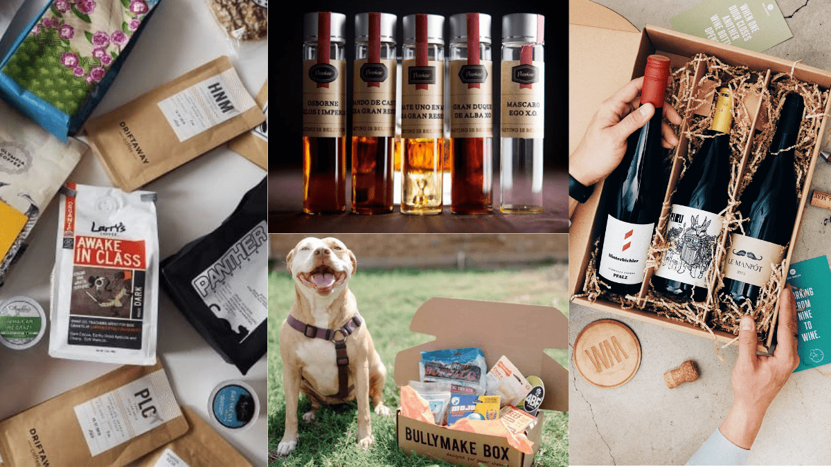 types of subscription services - coffee, pet treats, whiskey and wine.