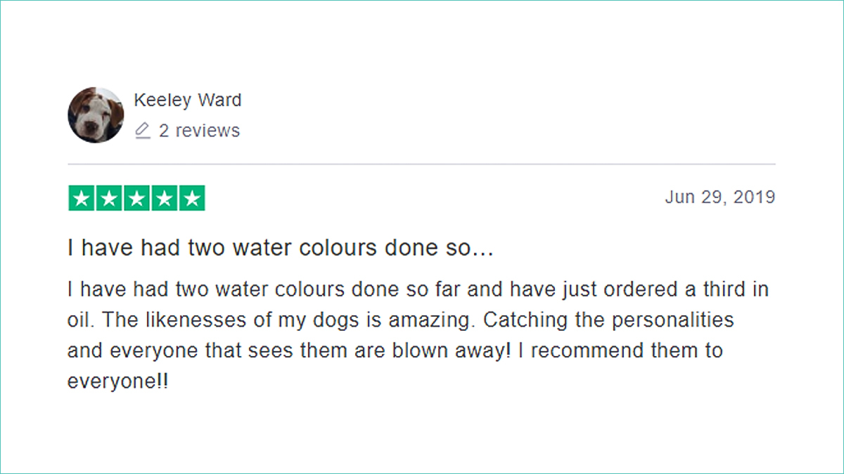 Portraitflip review on trustpiliot. Keeley ward says how happy she is with the painting service.