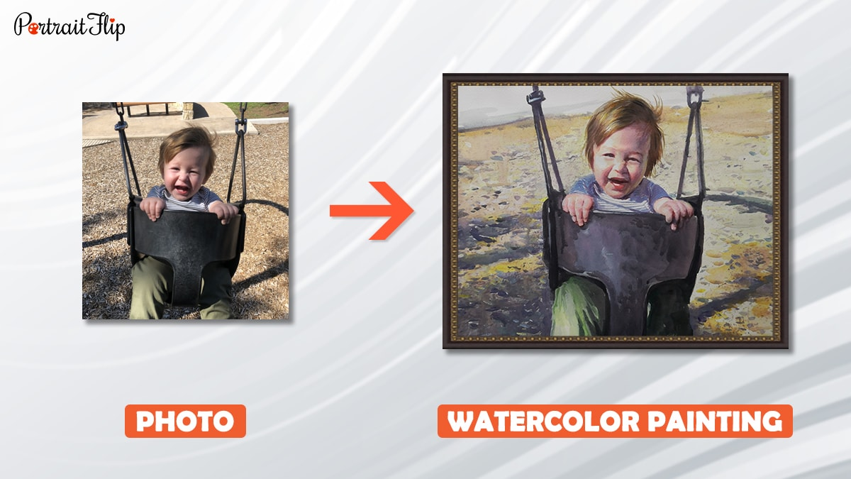 a photo of kid on a swing is turned into watercolor painting
