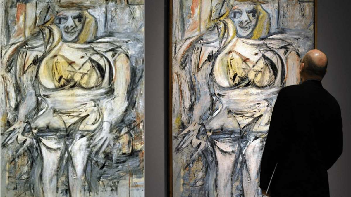 The 18th most expensive painting 'Woman III' by Willem de Kooning hangs at a museum and being viewed by a man.